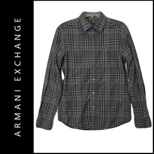 AX Armani Exchange Mens Plaid & Check Dress Shirt